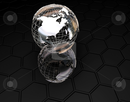 3D Globe stock photo, 3D wireframe globe on textured black background by Kirsty Pargeter