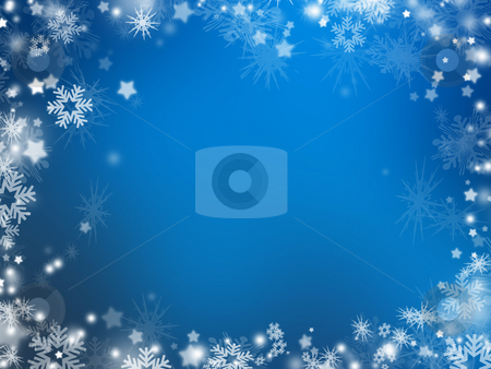 Snowflakes and stars stock photo, Background of many snowflakes and stars by Kirsty Pargeter