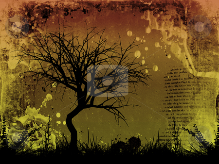 Grunge tree stock photo, Silhouette of a tree and foliage on detailed grunge background by Kirsty Pargeter