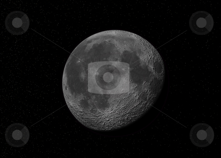 Moon stock photo, Fictional image of the moon in a starry sky by Kirsty Pargeter