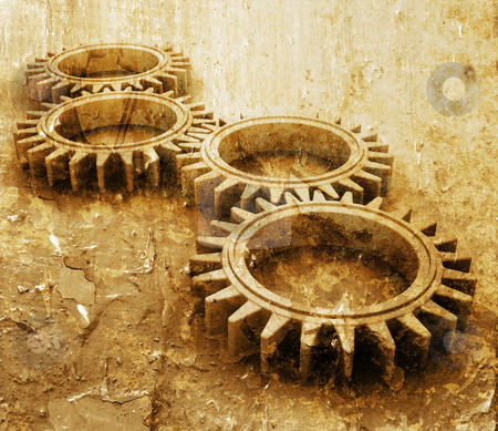 Grunge gears stock photo, Interlocking gears on grunge style background by Kirsty Pargeter