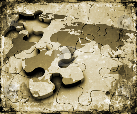 Grunge world jigsaw stock photo, World map jigsaw on grunge background by Kirsty Pargeter