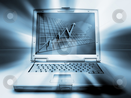 Success stock photo, Laptop with graph showing rising profits on screen by Kirsty Pargeter