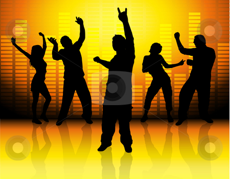 Funky party stock photo, Silhouettes of people dancing on music background by Kirsty Pargeter