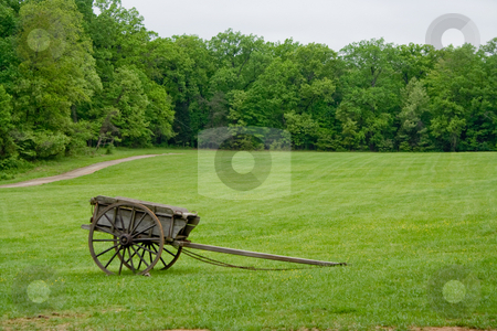 Cart in a Field stock photo, Old Wagon In a Field at Mount Vernon by Thomas Marchessault