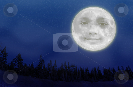 Full Moon stock photo, An illustration of a full moon with a smiley face over trees on a night sky covered with stars. by Ivan Paunovic