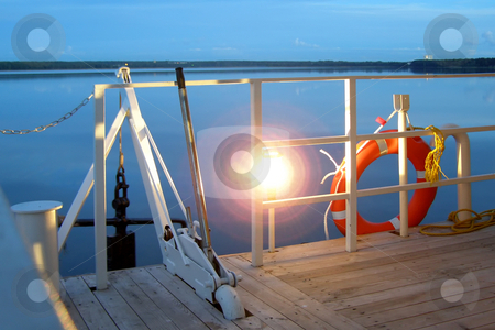Lower deck stock photo, Anchor, lamp and life buoy on a lower deck by Sergej Razvodovskij