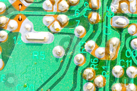 Old Dusty Printed Circuit stock photo, A very old and dusty printed circuit - close up by Petr Koudelka