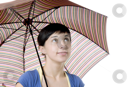 Brunette woman under umbrella stock photo, Young brunette girl with umbrella in colors by Rui Vale de Sousa