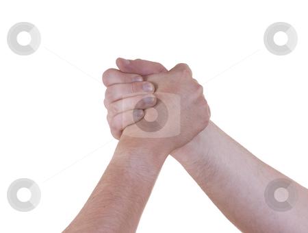 Partner stock photo, Partner men handshake detail on white background by Rui Vale de Sousa