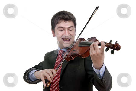 Music stock photo, Violin player man isolated on a white background by Rui Vale de Sousa