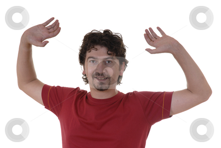 Wide open stock photo, Man with open hands in white background by Rui Vale de Sousa
