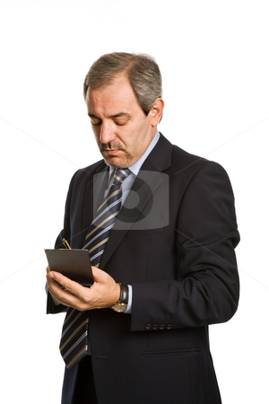 Thoughts stock photo, Pensive mature business man, isolated on white by Rui Vale de Sousa