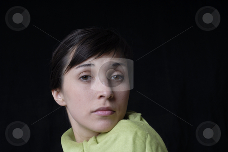 She stock photo, Young girl portrait isolated on black background by Rui Vale de Sousa