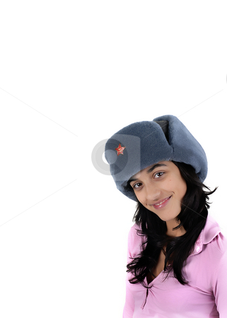 Teen stock photo, Young girl with a russian hat portrait by Rui Vale de Sousa