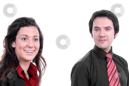 Team stock photo, Business couple, isolated. focus on the woman by Rui Vale de Sousa