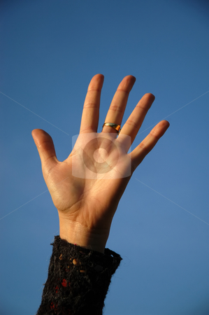 Hand stock photo, Woman open hand with the sky as background by Rui Vale de Sousa