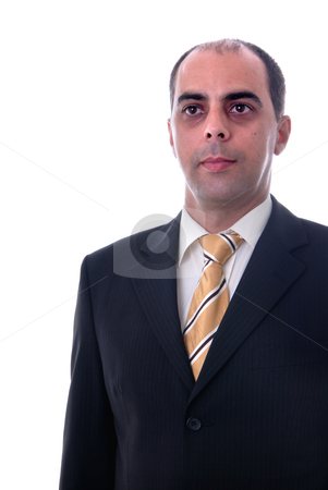 Serious  stock photo, Serious business man portrait on white background by Rui Vale de Sousa