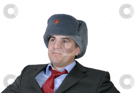 Russian stock photo, Young business man portrait with a russian hat by Rui Vale de Sousa
