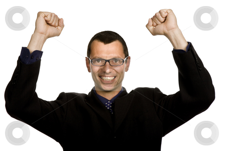 Winner stock photo, Successful business man with open arms isolated on white by Rui Vale de Sousa