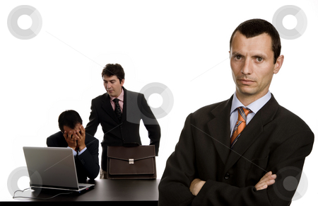 Workers stock photo, Boss with two men working, focus on the right man by Rui Vale de Sousa