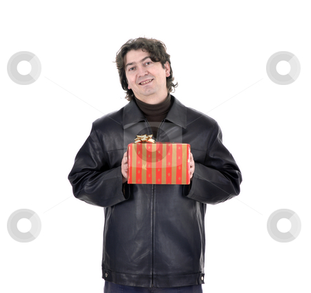 Gift stock photo, Young man holding a gift box. Isolated on white with copy space. by Rui Vale de Sousa