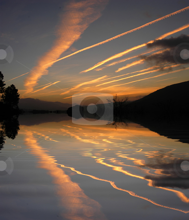 Sunset stock photo, Sunset on the mountains, with water reflection by Rui Vale de Sousa