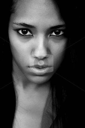 Woman stock photo, Young beautiful woman closeup portrait, studio shot by Rui Vale de Sousa