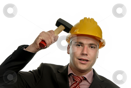 Hammer stock photo, Young male worker portrait with a hammer by Rui Vale de Sousa
