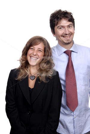 Happy stock photo, Business couple isolated on white background, focus on the woman by Rui Vale de Sousa
