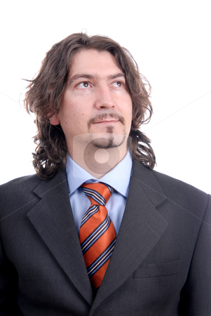 Man stock photo, Bored young business man standing on white background by Rui Vale de Sousa