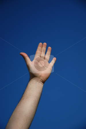 Hand stock photo, Human hand and the blue sky as background by Rui Vale de Sousa