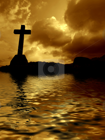 Cross stock photo, Cross detail in silhouette and the clouds in the sky by Rui Vale de Sousa