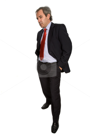 Pensive stock photo, Mature business man isolated on white background by Rui Vale de Sousa