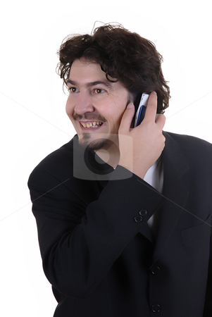 Call stock photo, Young man on the phone in a white background by Rui Vale de Sousa