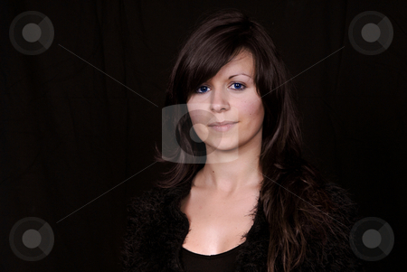 Pretty stock photo, Pretty young woman portrait, isolated on black background by Rui Vale de Sousa