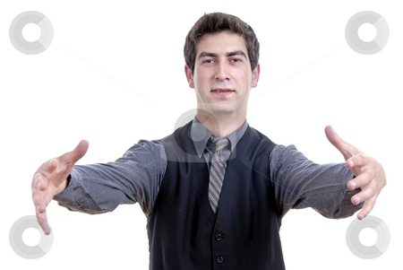 Silly stock photo, Young business man portrait in white background by Rui Vale de Sousa