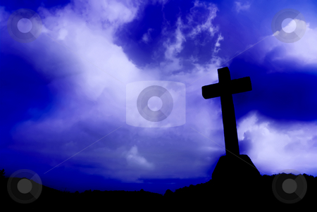 Cross stock photo, Cross silhouette and the clouds toned blue by Rui Vale de Sousa