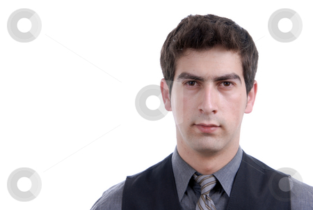 Adult stock photo, Young business man portrait in white background by Rui Vale de Sousa