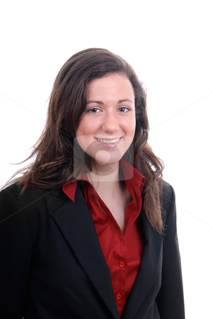 Portrait stock photo, Young business woman portrait in white background by Rui Vale de Sousa