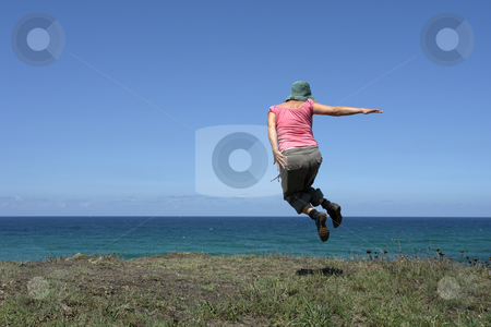 Free stock photo, Happy woman with a big jump at the coast by Rui Vale de Sousa