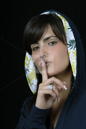 Silence stock photo, Young woman portrait isolated on black background by Rui Vale de Sousa