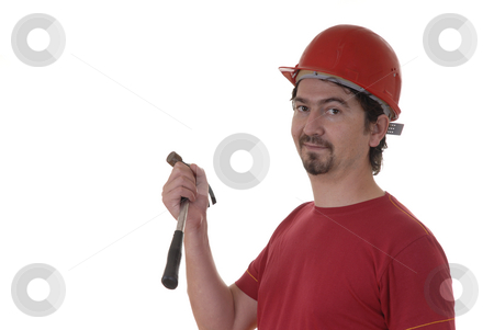 Worker stock photo, Man with working tool in white background by Rui Vale de Sousa