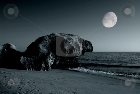 Beach stock photo, Toned beach with full moon in portugal by Rui Vale de Sousa