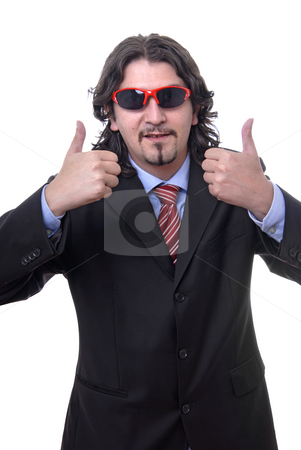 Thumbs stock photo, Silly young business man isolated on white by Rui Vale de Sousa