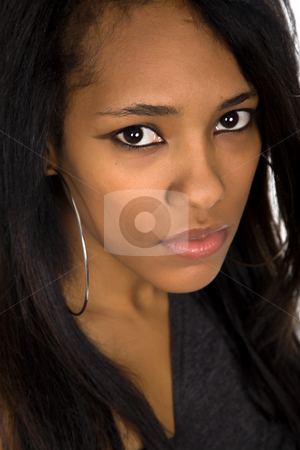 Closeup stock photo, Young beautiful afro american woman closeup portrait by Rui Vale de Sousa