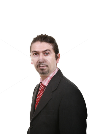 Male stock photo, Bored young business man standing on white background by Rui Vale de Sousa