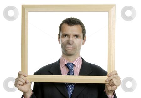 Frame stock photo, Young business man portrait inside a frame by Rui Vale de Sousa
