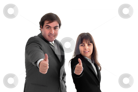 Attitude stock photo, Business partners with thumbs up over a white background by Rui Vale de Sousa