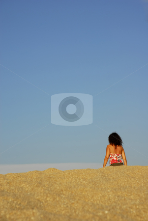 Woman stock photo, Young woman walking at the beach sand by Rui Vale de Sousa